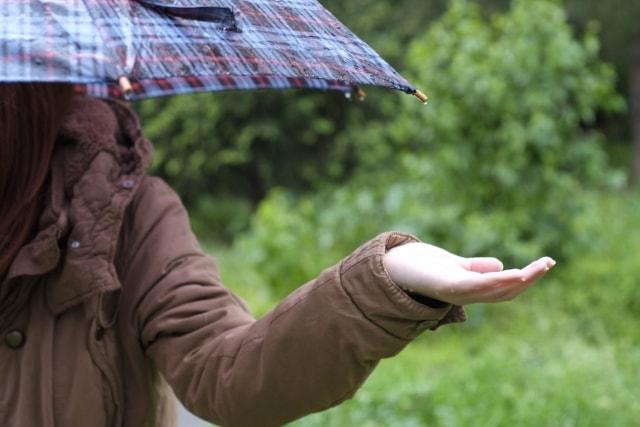 天気を気にする女性